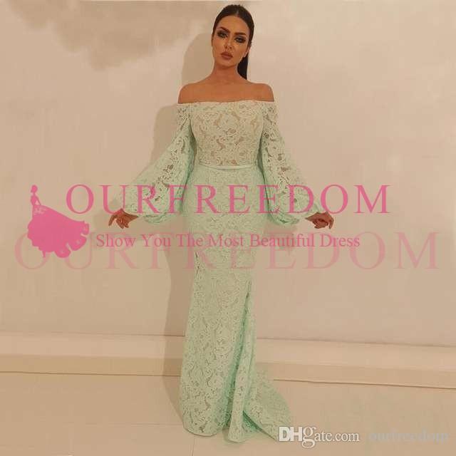 Saudi Arabian Moroccan Mermaid Evening Dresses Party Elegant for Women Long Sleeves Off Shoulder Lace Sage Dubai Caftans 2019