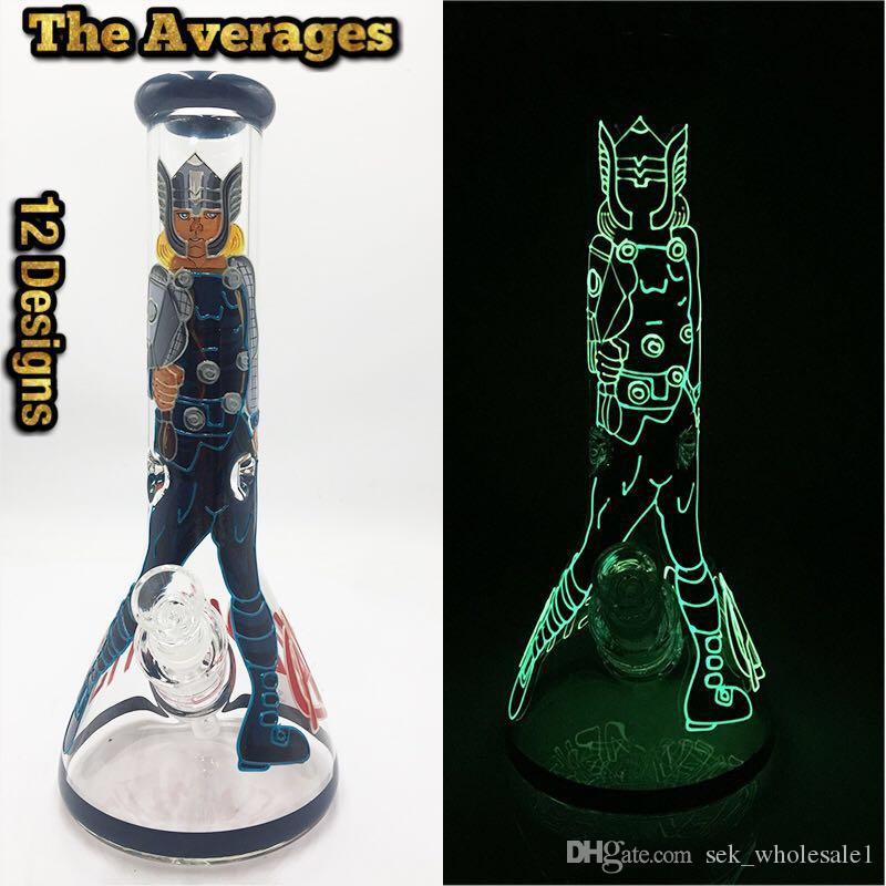 """7mm The Averages beaker bong 13"""" tall thick bong Glow in dark hand painting glass water pipe Dab Rigs"""
