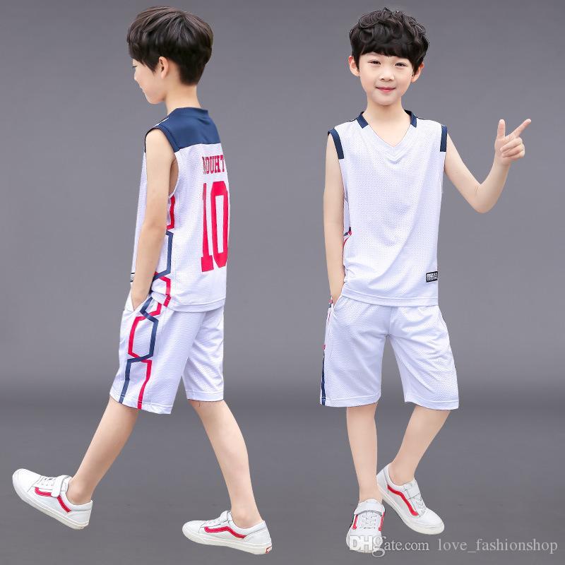 Varejo 5-14Y crianças grandes treino set meninos sem mangas esportes colete basquete jerseys 2 pcs shorts set equipe desgaste crianças roupas 50% de desconto