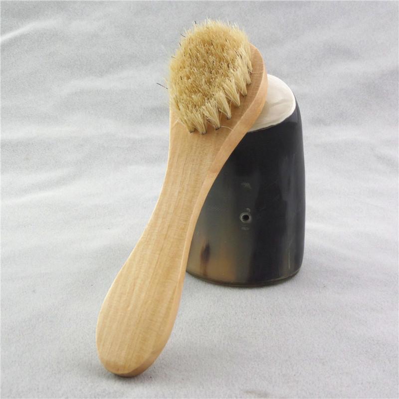 فرشاة تنظيف الوجه لتقشيم الوجه شعيرات طبيعية تنظيف فرش الوجه للفرشات الجافة تنظيف مع مقبض خشبي FFA2856