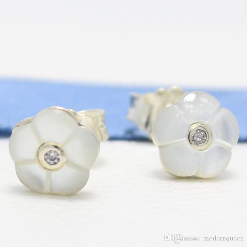 Pendientes flor espárragos madre de la perla S925 se adapta para la pulsera estilo pandora 290698MOP H8ale