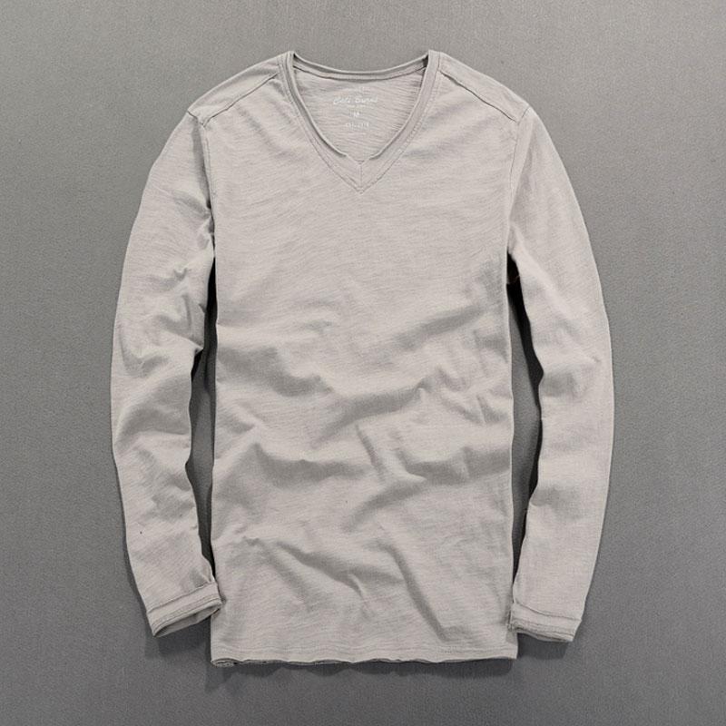 Pura Camiseta de algodón V-cuello de los hombres de la camiseta de los hombres de manga larga de algodón flameado camiseta delgada de los hombres de color puro