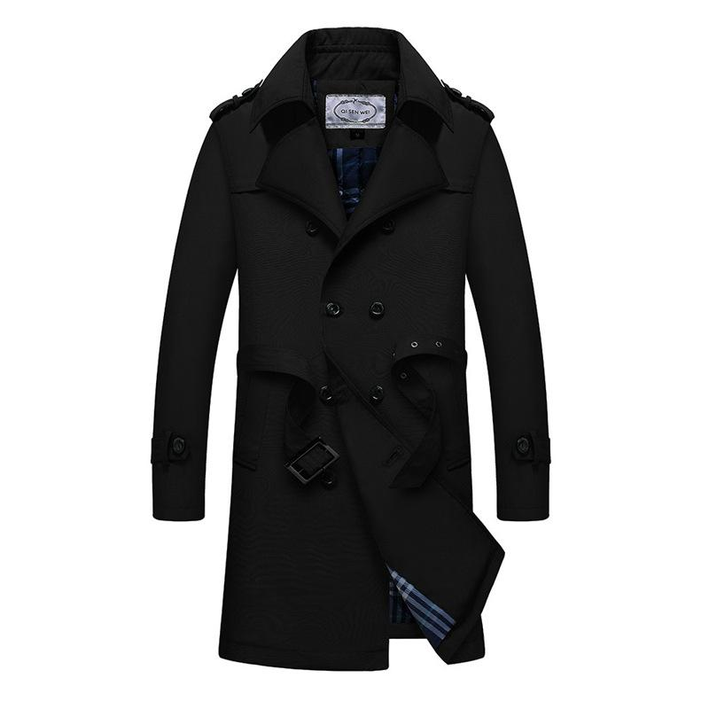 British Slim double breasted Trench Coat Men Top Quality Mens Europe Trench Coat Men Classic Long Spring Autumn Winter