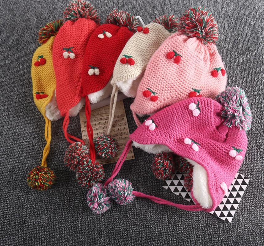 Children Kids Boys Girls Winter Warm Cartoon Strawberry Hairball Hat Toddler Baby Hat Boy Girl Keep Warm Accessories Kids Cap