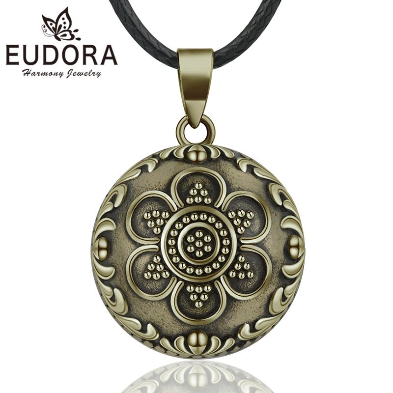 EUDORA Sound Harmony Ball Vintage Bronze Necklace Chime Bola Pendant for Women Fashion Jewelry Flower Mexican Pregnancy Ball