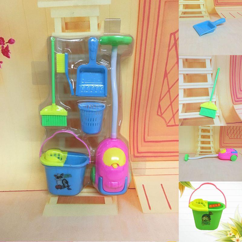 Çocuklar Evi Seti Mobilya Oyuncak Komik Elektrikli Süpürge Paspas Süpürge Küme için 6Pcs Ev Mobilyaları Mobilya Temizleme Temizleyici Kiti