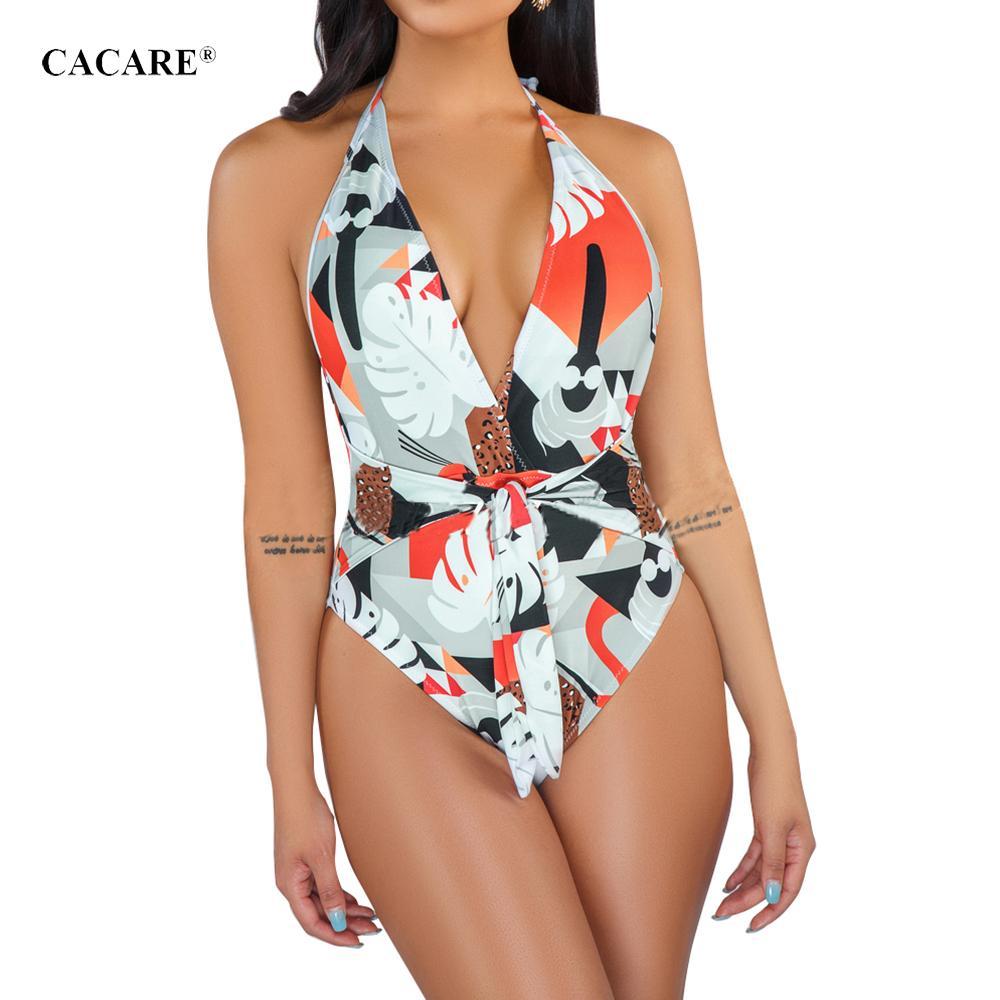 2019 Praia Macacão Sexy Body Body Bodysuit Uma Peça BIKINI CACARE F0207 Blackless Decote Em V Profundo Halter com Cinto