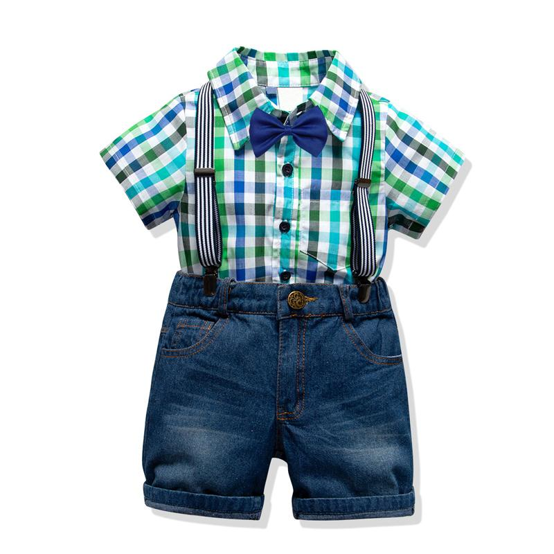 Toddler Clothing Set For Boys Suits 2019 Summer New Arrived 4 Colors Plaid Shirt + Short Jeans With Strap Kids' Wear J190513