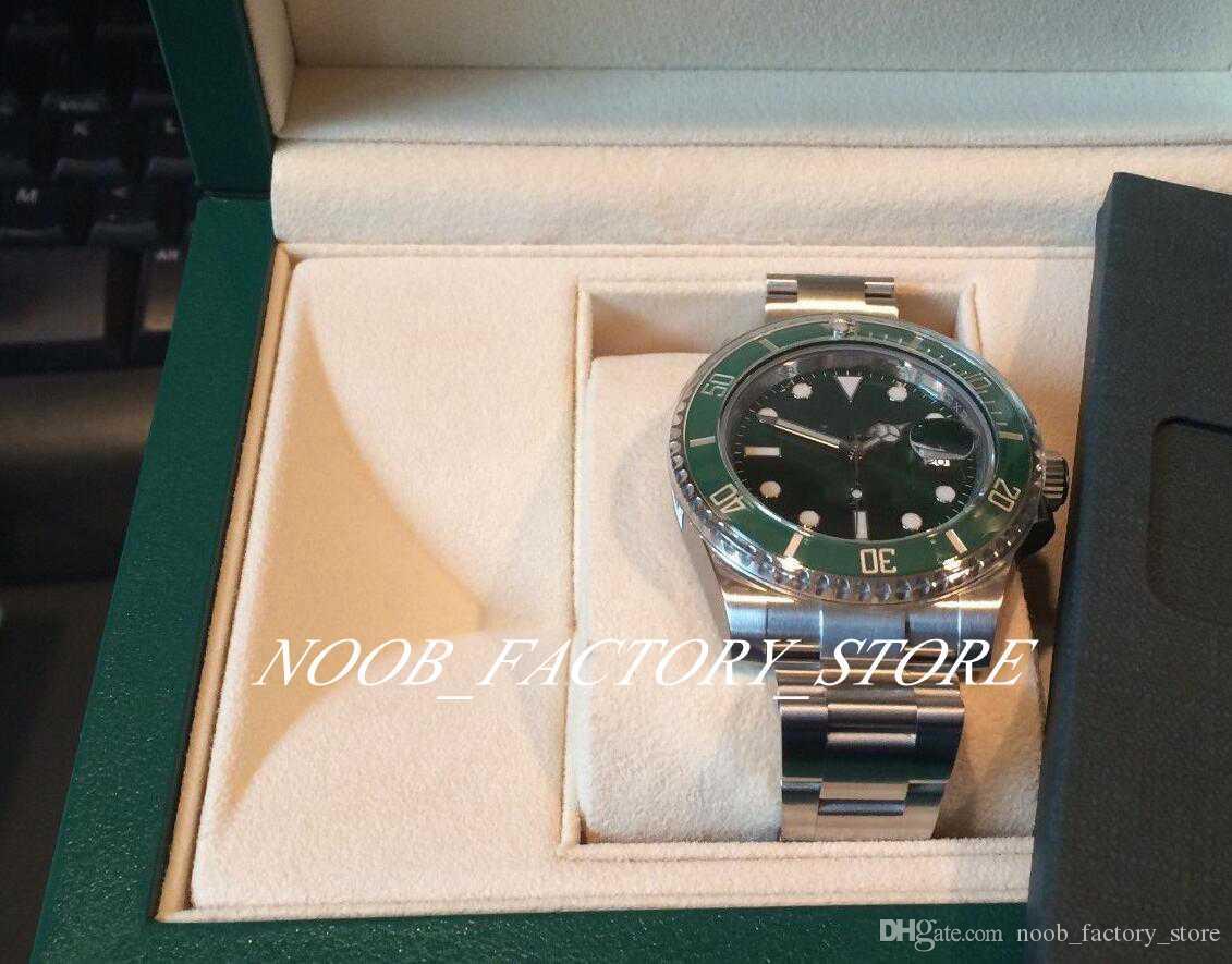 Süper N Fabrika V5 2813 Hareket Yeni İzle Yeşil Seramik Bezel Safir Cam 40mm 116610 116610LV Yeni stil orijinal kutu Mens Watch Kol