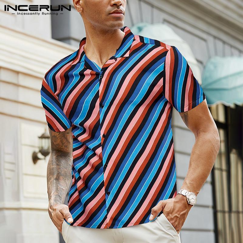 INCERUN hommes colorés chemises rayées à manches courtes T-shirt d'été Lapel plage hawaïenne Chemisier Boutons Casual Hauts Streetwear S-5XL 7