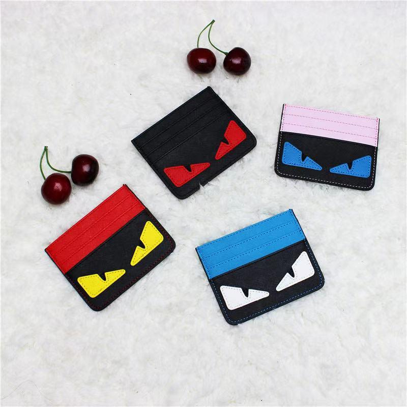 Cartoon ultra-mince carte d'identité Holder Mode Hommes Femmes carte de crédit Holder Petits monstres Slim ID Bank Card Case Sac de poche réel Portefeuille en cuir
