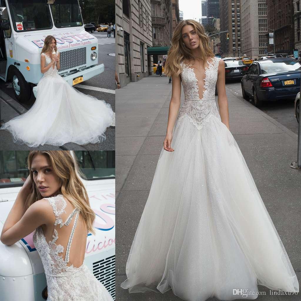 Berta 2019 Bohemian Wedding Dresses Sheer V Neck Lace Appliqued Abiti da sposa Una linea Boho Beach Tulle Long Wedding Dress Vestidos De Novia