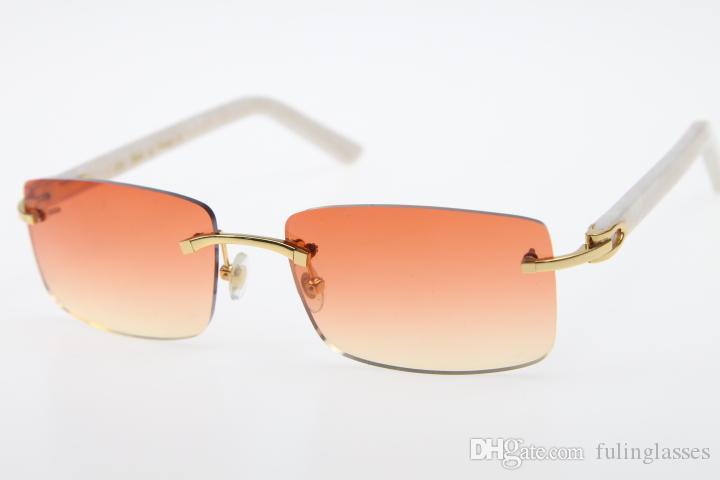 2019 Rimless lunettes noires aztèque SunGlasses bras chaud blanc lunettes design unisexe Lunettes de soleil New Orange Rouge objectif
