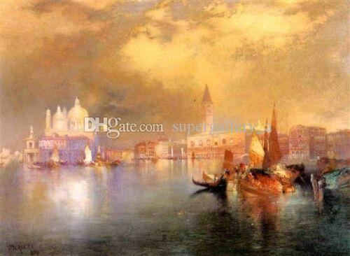 Thomas Moran Moonlight in Venice Home Wall Art Decor Handpainted &HD Print Oil painting On canvas Wall Art Canvas Pictures 190827