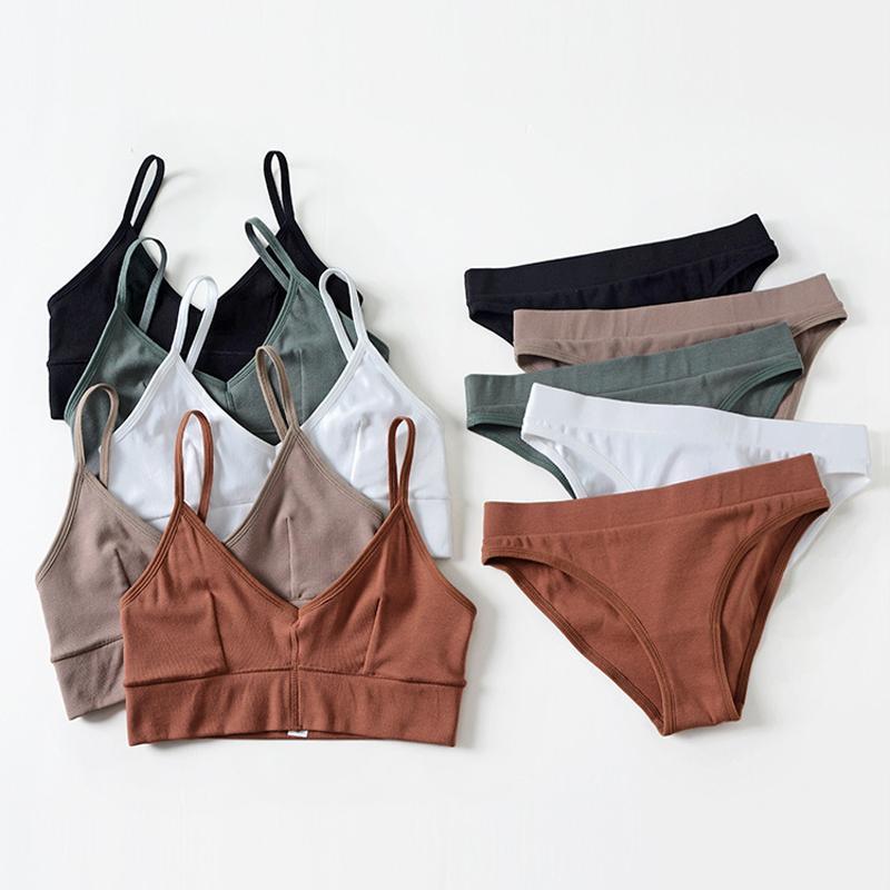 Wriufred Baumwollfaden Nahtlose Frauen-Freizeit-BH-Set Plus Size Vest Schlaf Unterwäsche Tops Sexy V-Ausschnitt Fitness Draht Freie Wäsche