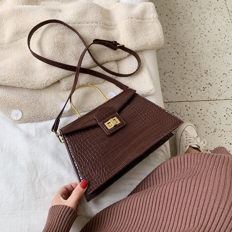 women handbag new crocodile pattern retro bag simple atmospheric pressure flower leather handbag Joker trapezoidal leather shoulder bag