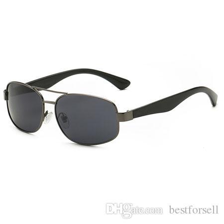 Fashion Active Sunglasses Men Women Brand Designer Rectangle Gunmetal Frame Sun Glasses Band 27a9 3445 with case