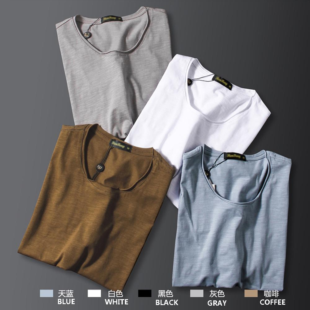 2019 Summer Bamboo cotton tops shirt men Undershirts Breathable Men Underwear Solid color O Neck slim fit Short Sleeve Clothing