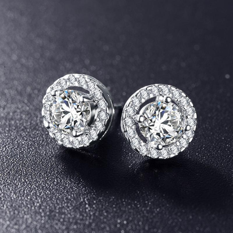 Hot Sale Romantic Wedding Accessories Earrings For Elegant Silver Cubic Zirconia Earrings Girlfriend Anniversary Gift