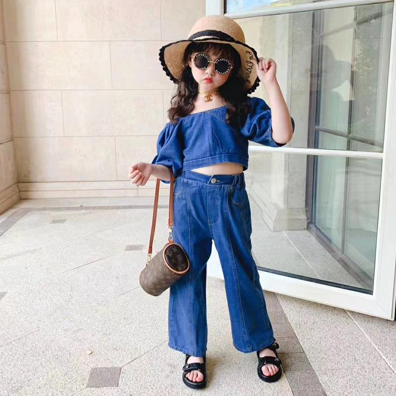 Ragazze di estate 2 pezzi insieme del bambino nel grano camicia + jeans del denim dei capretti adatta i bambini Streetwear 2 lato manica indossabile soffio da 3 a 12 anni