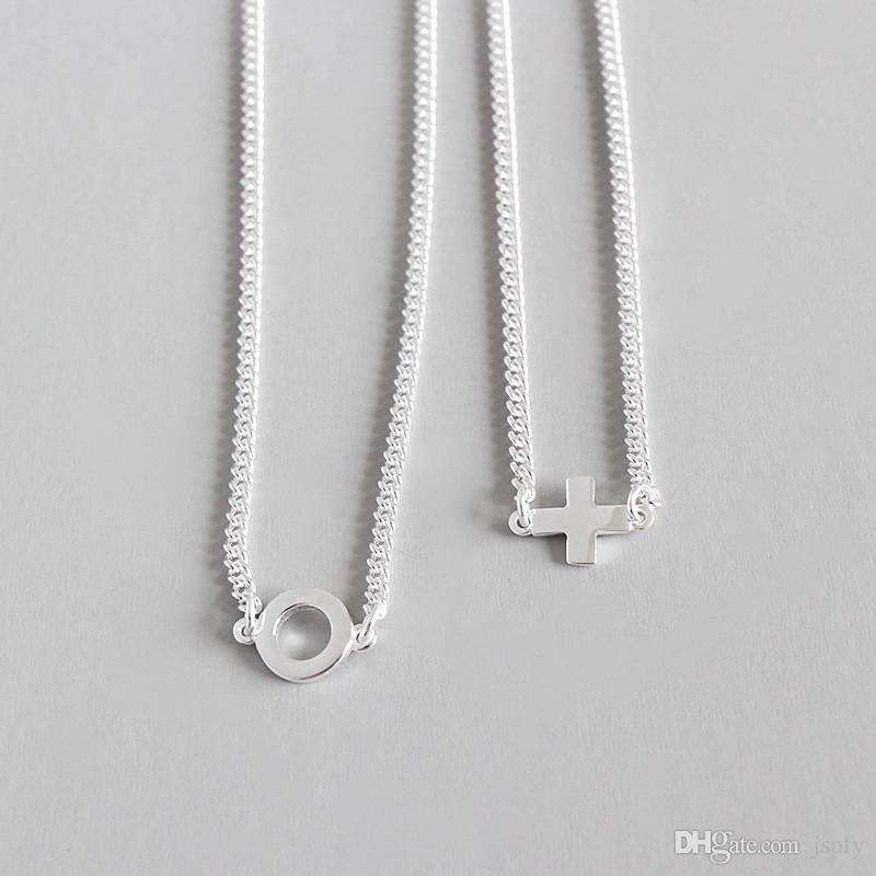 Real 925 Серебро 12 дюймов Цепь Choker ожерелье Крошечные Сбоку Креста для женщин Maxi Collier стерлингового серебра 925 ювелирные изделия