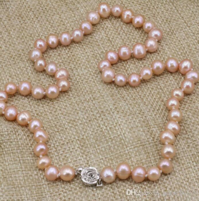 """perle d'acqua dolce arancio Jewelryr collana di perle naturali collana di perle a catena clavicola gioielli 8--9mm 18"""" spedizione gratuita"""