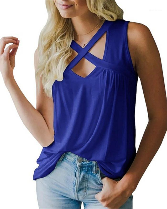 Nouvelle arrivée d'été sans manches femmes T-shirts occasionnels en vrac évider Gilet sexy col en V Croix Tops Mode
