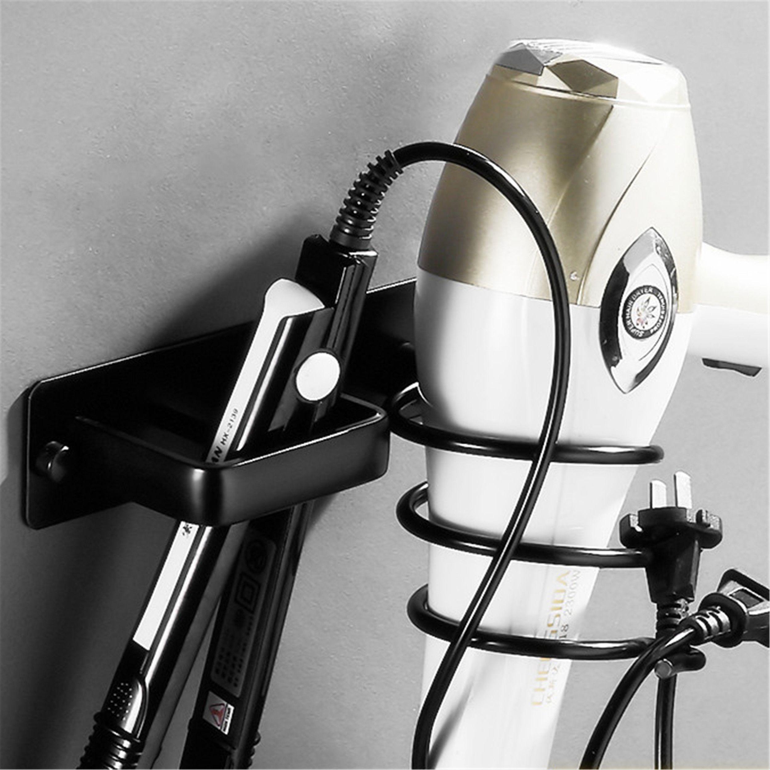 Wall Mounted Banho Preto Secador de cabelo Titular Espaço alumínio Cabelo Straightener Titular Armazenamento prateleira do banheiro Acessórios