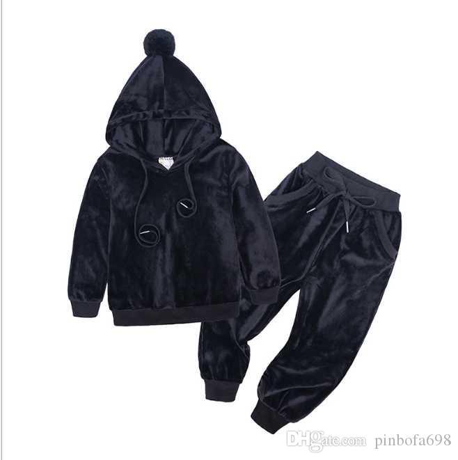 B 1 Sıcak Satış 2020 çocuk 2pcst Çocuk Bebek Polos Suit Erkekler Kızlar Uzun Kollu Gömlek + Pantolon Spor Giyim Hoodies Çocuk Giyim