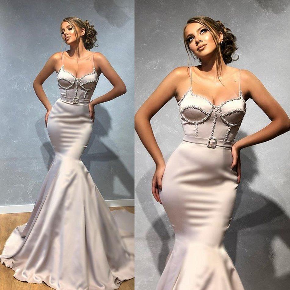 2020 Nova Vestidos Sexy Spaghetti Backless Mermaid Satin Prom Vestidos Trem da varredura formal do doce 16 vestido de festa