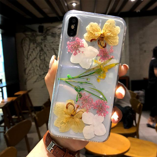 For iPhone 11 Pro XS Max Real Dried Flower Phone Case Soft TPU Handsome Pressed Back Cover for iPhone 8 7 Plus