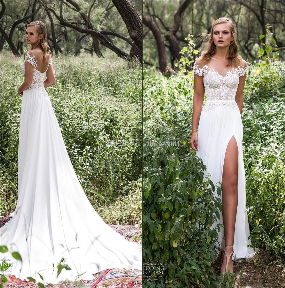 New Summer Beach Bridal Wedding Dresses Chiffon High Thigh Split Illusion Neckline With Short Sleeve Lace Wedding Gowns