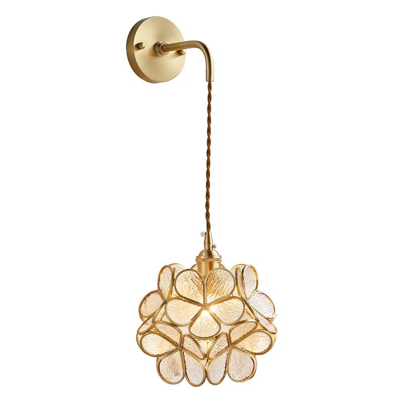 Modern Creative Copper Flower LED Wall Lamp crystal shade Living Room Art sconce bedroom deco lighting aisle bedside restaurant fixtures