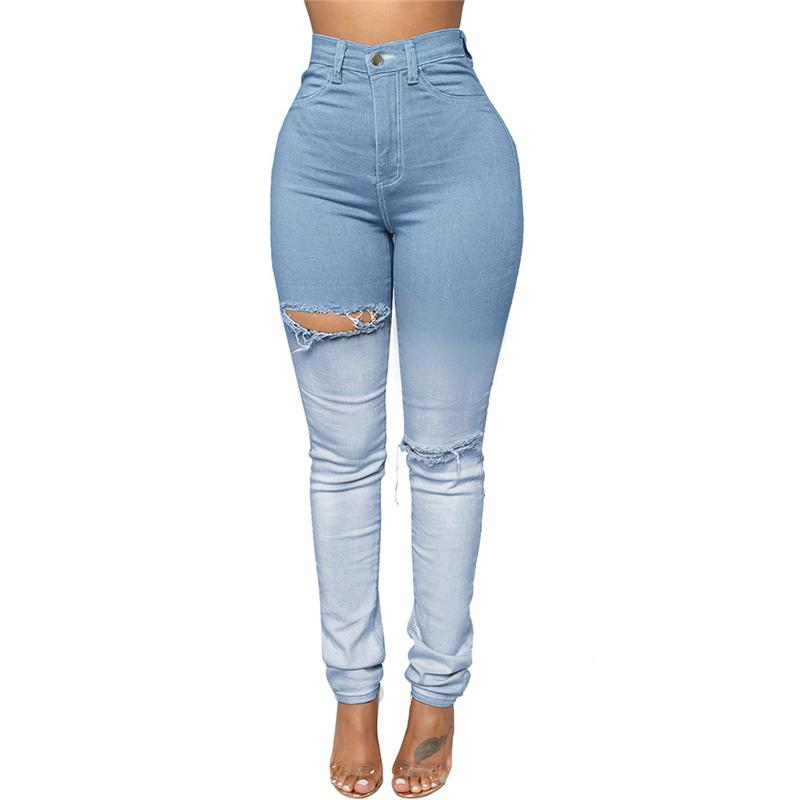 Light Blue Sexy Push Up Pantalones vaqueros rotos con cintura alta para mujer Mujeres lindas Super talle alto Tight Butt Lift Jeans de orificio envejecido