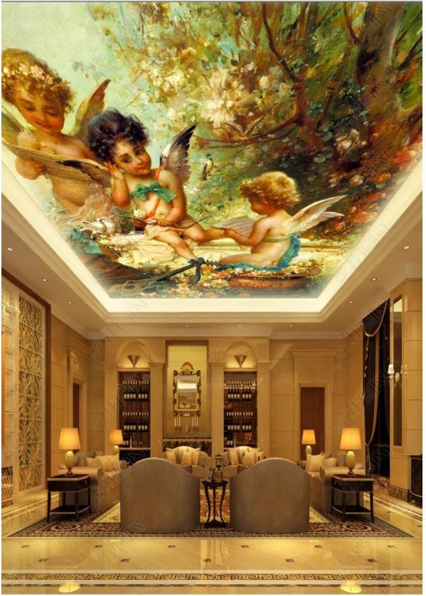 Custom Large Ceiling Zenith Mural Photo Wallpaper Cute angel oil painting European style living room ceiling zenith mural decorative