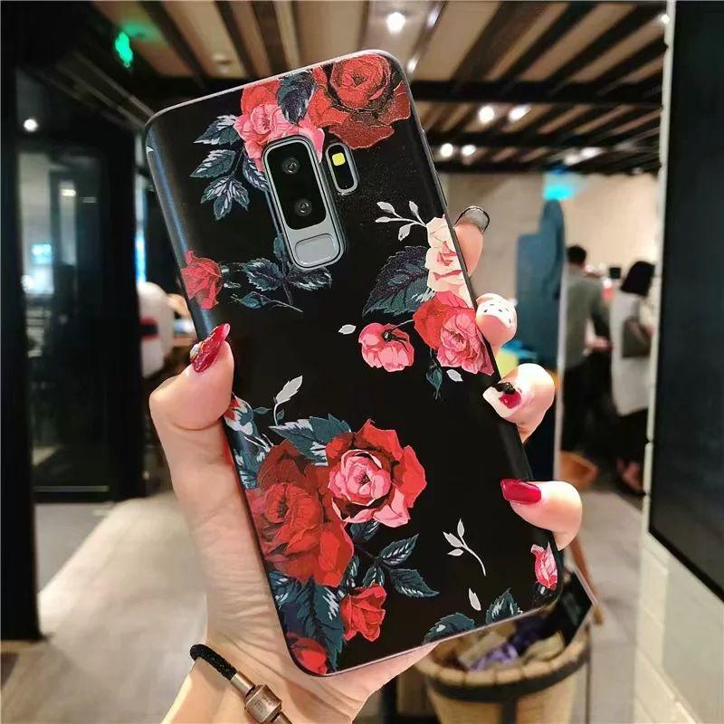 Cas 3D Fleur Emboss pour Samsung Galaxy J7 A5 J4 J5 J3 J6 2020 A7 plus A70 2016 2020 S7 S8 S9 S10 plus A50 A30 A40 A10 TPU