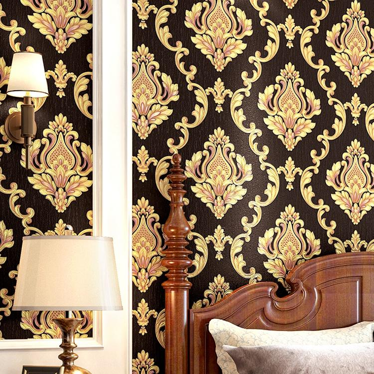 High Grade Black Gold Luxury Embossed Texture 3D Damask wallpaper for wall Roll washable Vinyl PVC Wall Paper