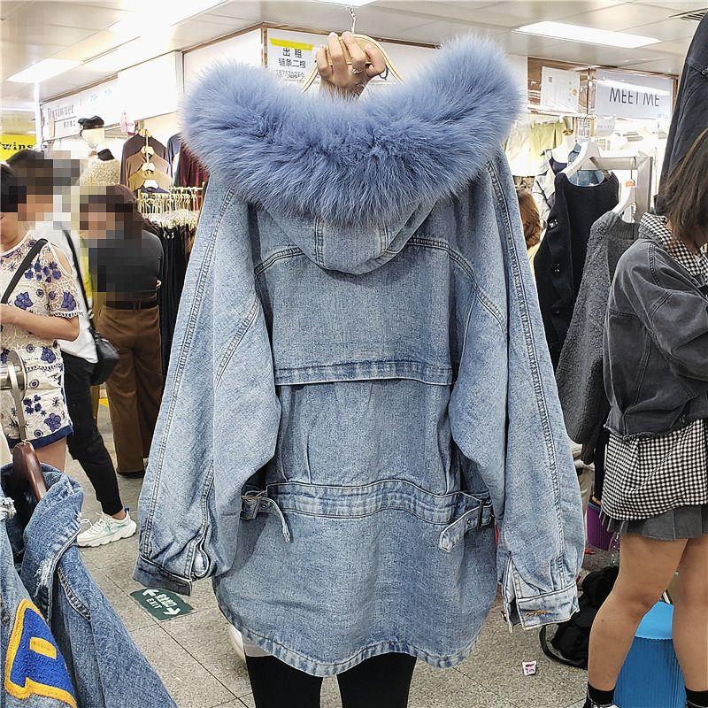 Реальный меховой воротник джинсовой пальто зимы женщин Одежда Толстые хлопка ватник Сыпучие капюшоном Мех Liner Parka пальто Женщины Outwear T191021