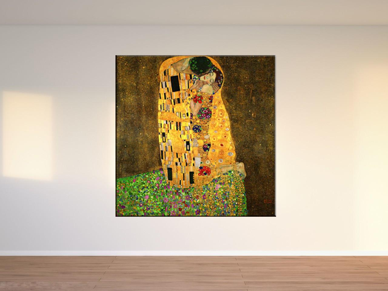 Kiss Gustav Klimt , Canvas Pieces Home Decor HD Printed Modern Art Painting on Canvas (Unframed/Framed)