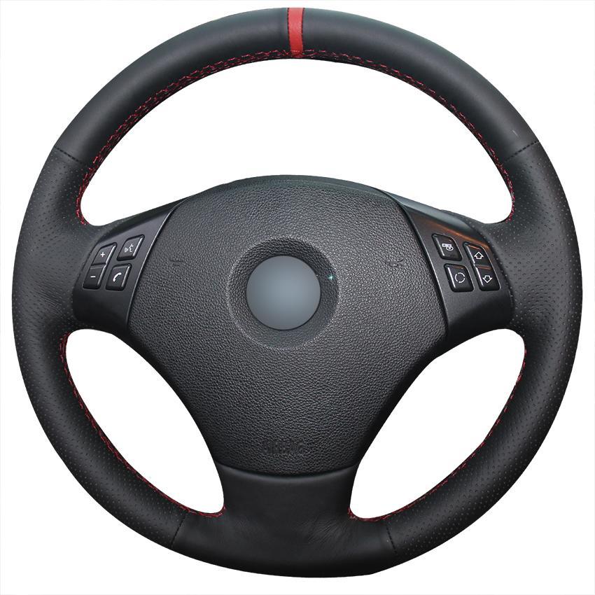 Ручной сшиты из натуральной кожи Черный Красный Маркер рулевого управления Удобная колеса автомобиля Крышка для E90 320 318i 320i 325i 330i