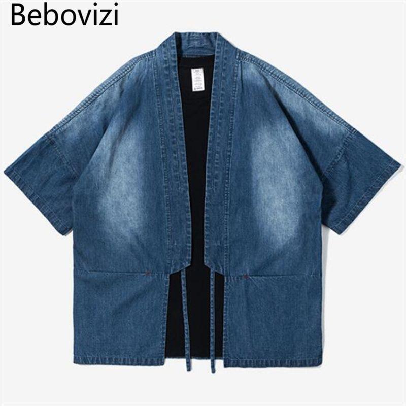 Bebovizi Brand 2018 Men's Robe Cotton Shirt Personality Trends Japanese Street Style Denim Blue Camouflage Black Kimono Shirts