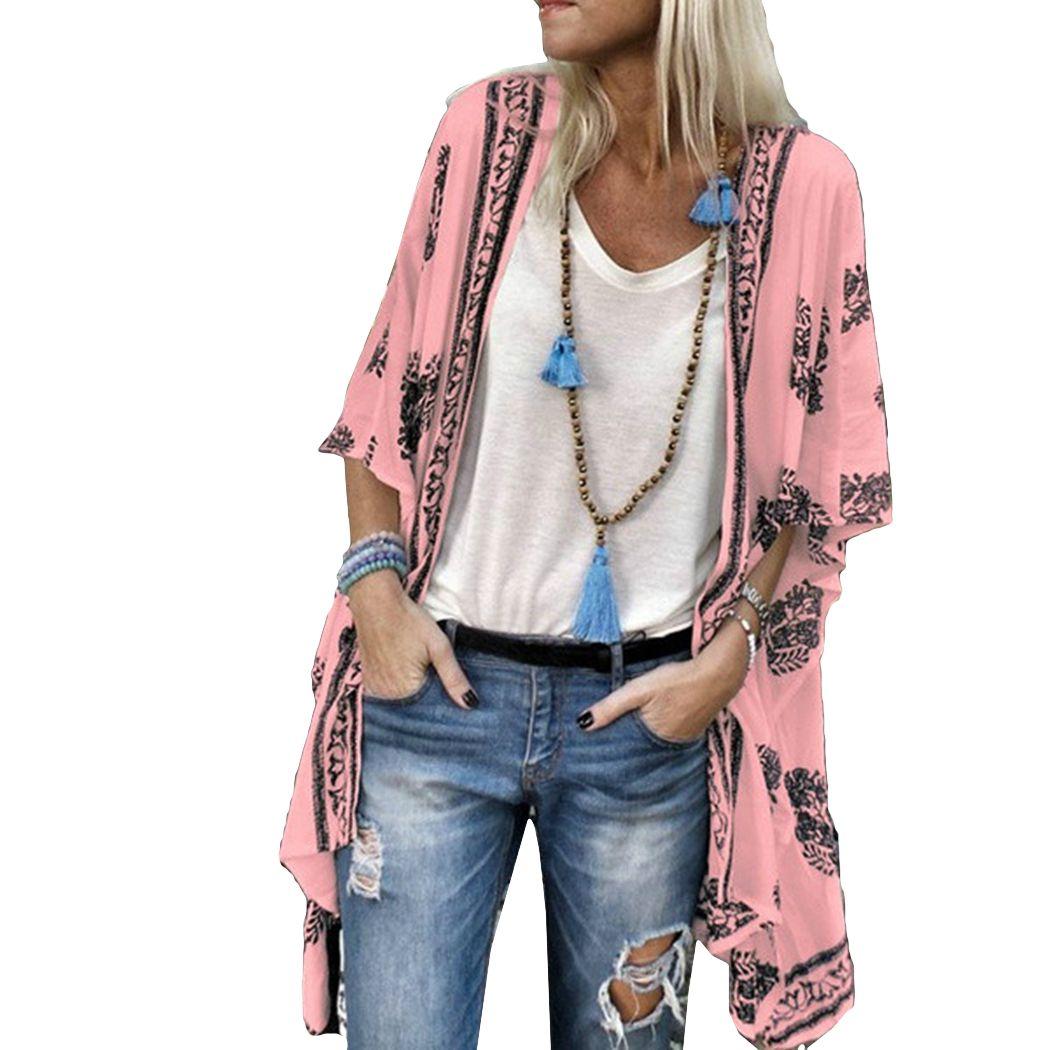 여성 여름 기모노 카디건 꽃 인쇄 하프 슬리브 롱 블라우스 보헤미안 비치 커버 업 캐주얼 느슨한 여성 셔츠 Blusas 탑