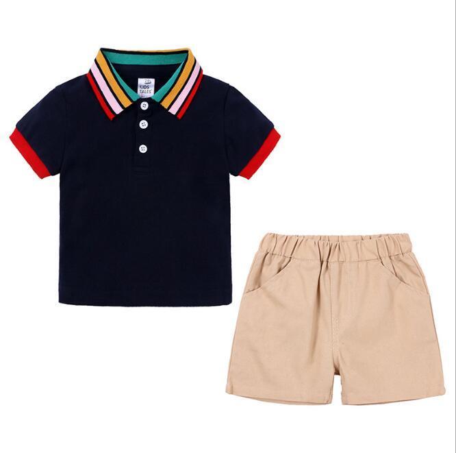Nuovo di successo vestiti per bambini manica corta collare arcobaleno Polo Bambino due pezzi insieme di una popolare per i capelli