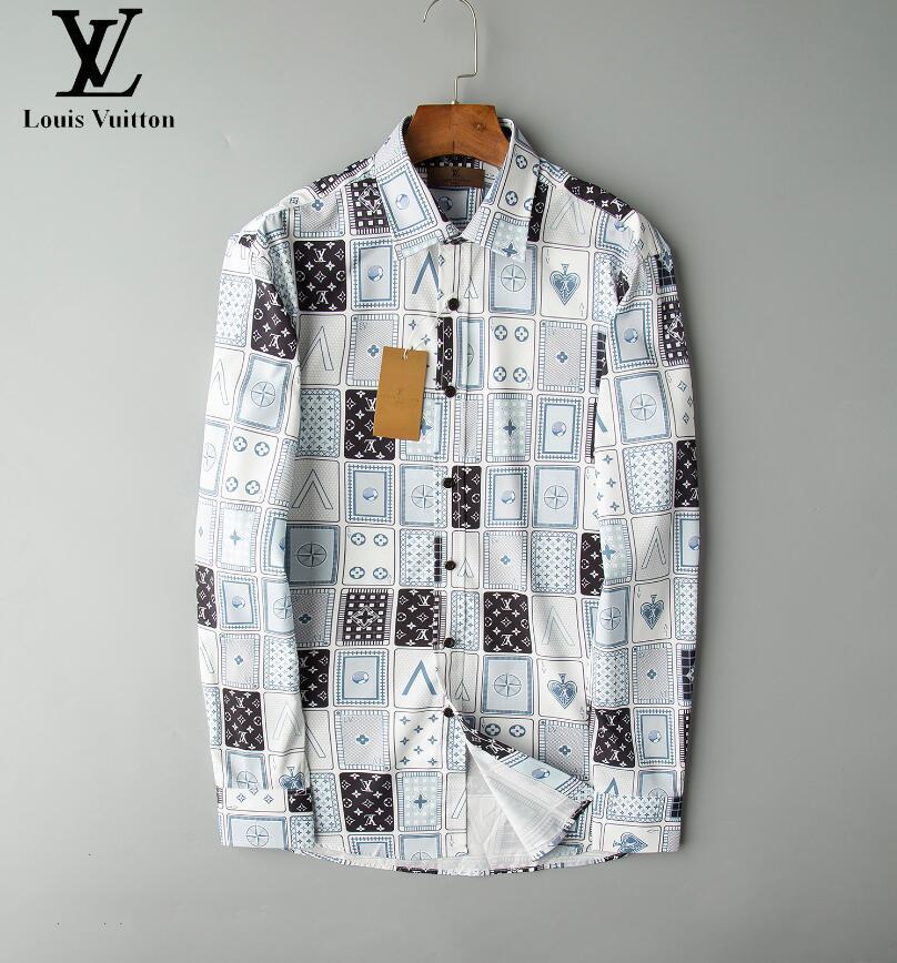 2020.New camisas de vestir de hombre manera de la camisa de los hombres ocasionales de la medusa camisas del oro impresión floral delgado apto de las camisas Men117