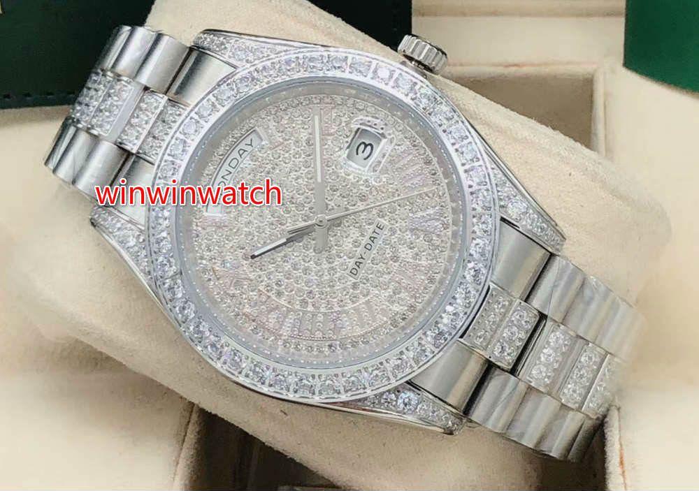 Farbe Armband Silber Qualität Diamant Uhr Uhr 41mm High Case Automatische Blende und in mittleren Diamanten von Männern Diamant 4 Zifferblatt Wat Wat WQnq