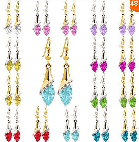 Bolzen-Ohrringe für Frauen Braut Hochzeit Weihnachten Ohrringe Modeschmuck Brincos Silber hängende Ohrringe Großhandel Kristall Ohrringe