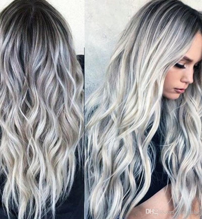 Cosplay donne ondulate lunghe per le donne misto Grigio Medio Parte parrucche sintetiche dei capelli