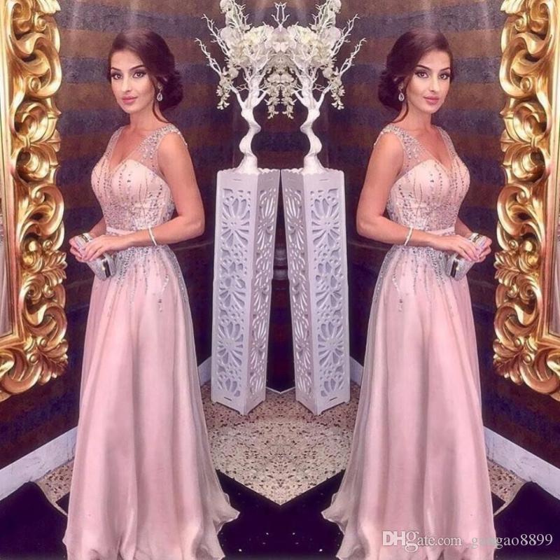 2019 Arabo Elegante Blush Rosa Abiti da sera Abiti lunghi A-Line Steps Sexy V Collo Maggiore Perline Prom Party Red Carpet Dress Girls Pageant Gowns