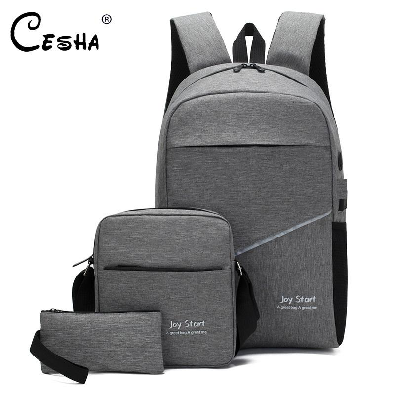 2019 New Design 3Pcs/Lot School Backpack High Quality Durable Canvas School Bag Fashion Casual Book Laptop Backpack for Teenager T200114