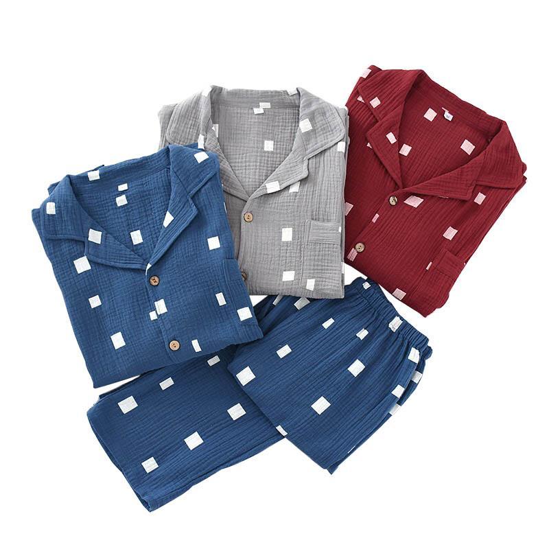 Frühling neue Männer Gaze Baumwolle Pyjama Set Einfache Stil Umlegekragen Nachtwäsche Set Volle Hülse Kleidung+Hosen 2 Stücke Homewear